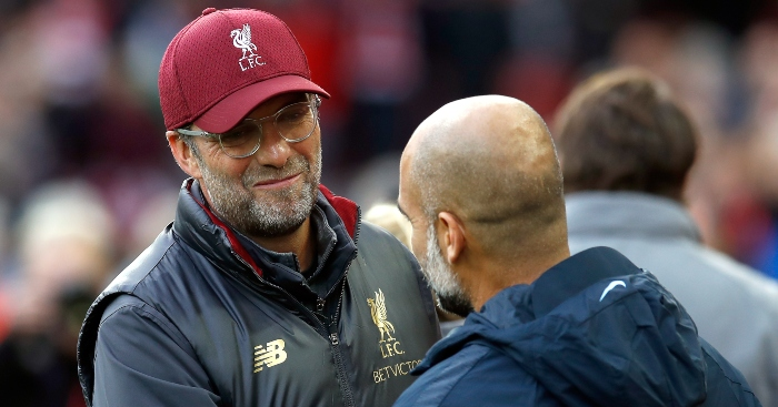 Liverpool Manager Jurgen Klopp and Manchester City Manager Pep Guariola